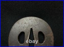 Japanese Antique Samurai TSUBA Katana Gold Inlay Iron Sword Hilt Edob747