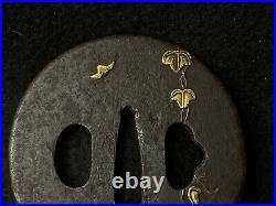 Japanese Antique Samurai TSUBA Katana Gold Leaf Inlay Sword Hilt Edo(b784)