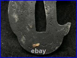 Japanese Antique Samurai TSUBA Katana Leaf Inlay Small Iron Sword Hilt Edob740