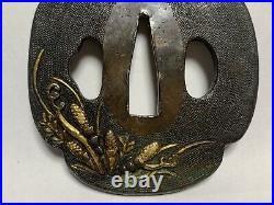 Japanese Antique Samurai TSUBA Katana Sword Hilf Horsetail Inlay (b414)