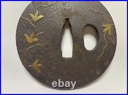 Japanese Antique Samurai TSUBA Katana Sword Hilt Gold Inlay /6 (b583)