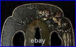 Japanese Antique Samurai TSUBA Katana Sword Hilt Shishi Lion Gold Inlay b729