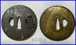 Japanese Antique Samurai TSUBA Katana Sword Hilt (b489)