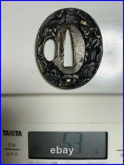 Japanese Antique Samurai TSUBA Katana Sword Hilt (b562)