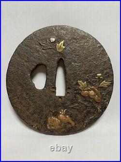 Japanese Antique Samurai TSUBA Sword Hilt Shishi Butterfly Flower Design(b480)