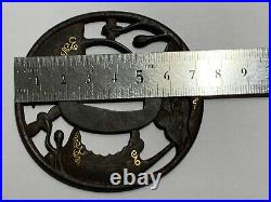 Japanese Antique Samurai Tsukashi TSUBA Katana OpenWork FlowerLeaves EDO(b656)