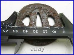Japanese Antique Tsuba SAMURAI Katana Blade Sword Guard Iron