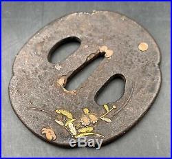 Japanese Edo Samurai Tsuba Sword Cross Guards Iron WithFloral Copper & Gold Inlay