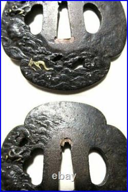 Japanese Iron TSUBA Dragon Wave Mokko shape Samurai Sword Katana Japan With Box