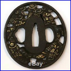 Japanese Iron Tsuba Edo Era Souten Musha no zu Free Shipping made in Japan 194