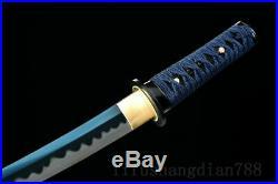 Japanese Samurai Sword Tanto High 1095 Carbon Steel Blue Full Tang Iron Tsuba