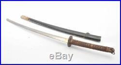 Japanese Samurai katana sword, old iron tsuba, military tsuka, wooden saya