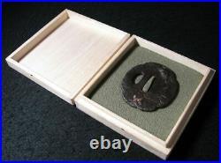 Japanese Sword Katana Tsuba Samurai Japan Antique Vintage Iron Paulownia Box Bee