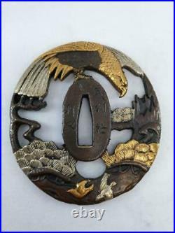 Japanese Sword Tsuba Bushi antique orthosis decorative hilt Samurai Art Hawk