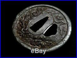 Japanese antique Edo Dragon Tsuba sword katana koshirae tsuka samurai Japan Rare