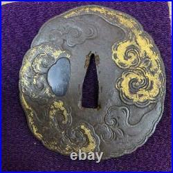 Japanese antique TSUBA Gold cloud crest Sword parts Iron Katana tachi Samurai