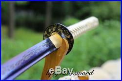 Japanese traditional hand-made Full Tang Blue Iron Tsuba Samurai Katana SwordA1