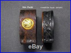 KAMON & Alphabet Inlaid Large FUCHI 18-19th C Japanese Edo Antique Koshirae
