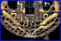 KK10 Japanese Antique Dragon & cross Iron tsuba kakure kirishitan relics Nanban