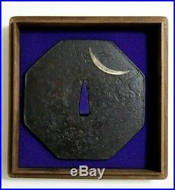 Large Iron Tsuba Late Edo Antique Japanese Katana Crescent Moon with Tsuba Box