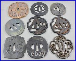Lot of 9 Japanese katana tsuba including Masaaki Ishiguro Bodhidharma motif