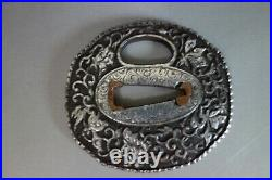 Nanban Tsuba iron Japanese Samurai ivy silver color sword fitting katana Edo
