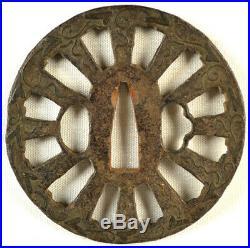 Old Japanese Katana Sword Heianjo Tsuba Flour Cart Wheel Forged Iron