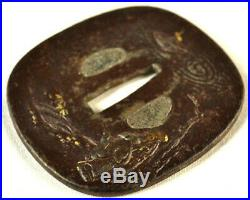 Old Japanese Katana Sword Tsuba Gold Silver Wise Men Bamboo Forged Iron