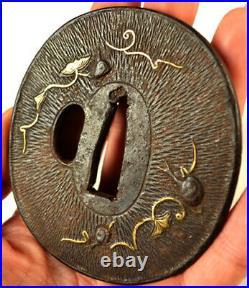Old Japanese Katana Sword Tsuba Snails Flowers Vines Gold Forged Iron
