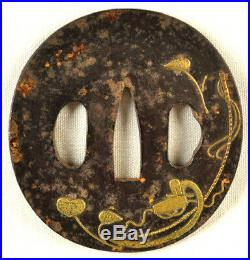 Old Japanese Sword Tsuba Plant Leaves Gold Hand Forged Iron