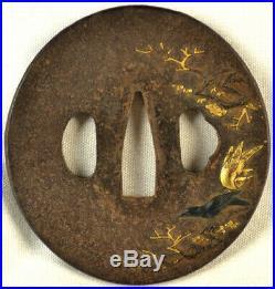 Old Japanese Sword Tsuba Shakudo Gold Birds Cherry Blossom Forged Iron