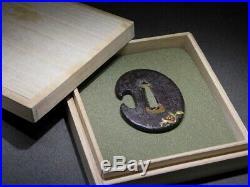 RARE Coral & Cloisonne TANTO TSUBA 19thC Japanese Edo Samurai Koshirae Antique