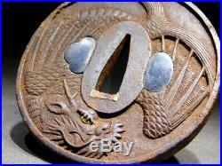 RARE Flying Dragon KATANA TSUBA 18-19thC Japanese Edo Samurai Koshirae Antique