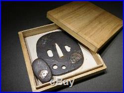 RARE MOTIF Skull KATANA TSUBA & FUCHI 18-19thC Japanese Edo Antique for Koshirae
