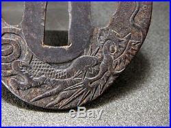 RARE SATSUMA School Dragon TSUBA 18/19C Japanese Edo Original Antique Koshirae