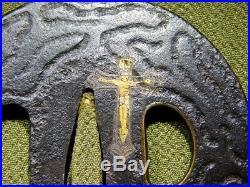 RARE SIGNED Christ TSUBA Hidden Christian Japanese Edo Antique for Koshirae
