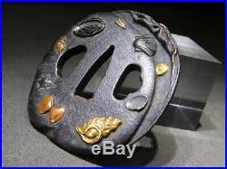 RARE Shells TSUBA Under the Sea 18-19thC Japanese Original Antique Edo Koshirae