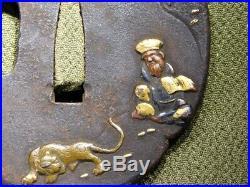 RARE Tiger Monk TSUBA 18-19thC Japanese Edo Antique for Koshirae