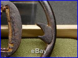 Rare motif KANJI Katana TSUBA 18-19thC Japanese Edo Antique for Koshirae