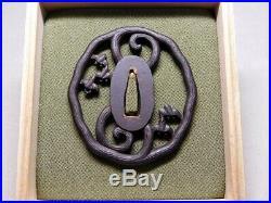 SIGNED Beautiful Design TSUBA Plovers & Wave 19thC Japanese Original Antique Edo