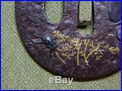 SIGNED Crickets TETSUGENDO TSUBA 17-18thC Japanese Original Antique Edo Koshirae