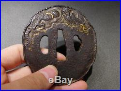 SIGNED Dragon KATANA TSUBA 18-19thC Japanese Edo Antique for Koshirae