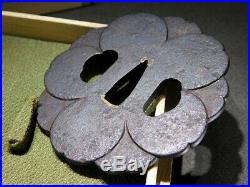 SIGNED Flower Form TSUBA 18-19thC Japanese Edo Antique for Koshirae