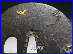 SIGNED Owl and Birds TSUBA Japanese Original Edo Antique Sword fitting