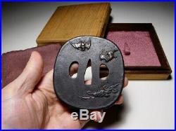 SUPERB Bat Moon KATANA TSUBA Japanese Original Edo Antique Sword fitting