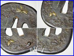 SUPERB Dragonfly Mantis KATANA TSUBA Japanese Original Edo Antique Swordfitting