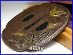 SUPERB Gold Bat & Silver Moon KATANA TSUBA Japanese Original Edo Sword Antique
