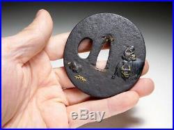 SUPERB JUROJIN ZEN Motif TSUBA 18/19C Japanese Edo Original Antique Koshirae