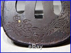 SUPERB SIGNED Dragon TSUBA GOTO-ICHIJO School Japanese 19thC Antique TSUBA