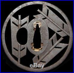 SUPERB SIGNED YANONE Arrowhead TSUBA Japanese Original Edo Antique Sword fitting